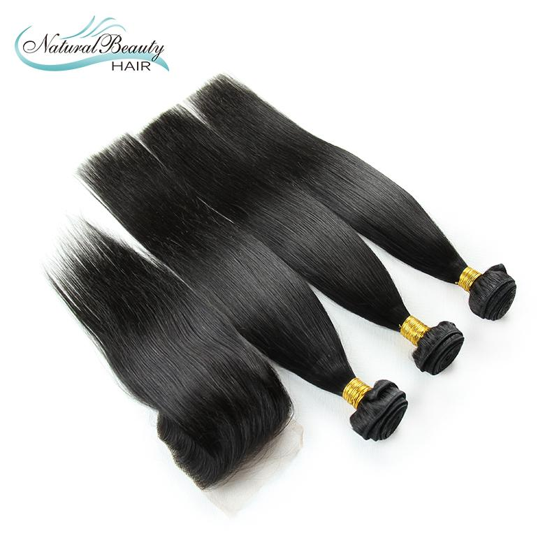 3Pcs with closure 6A Cheap Mongolian Virgin Remy Hair Extensions Straight Raw Human Straight Hair Weaving Free Shipping<br><br>Aliexpress