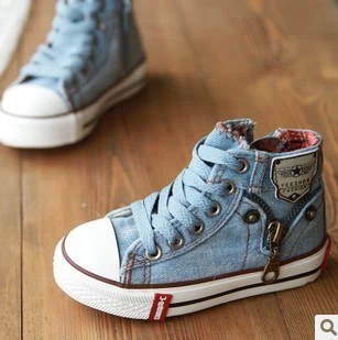 2015 Child High Top Canvas Shoes Boy/Girls Sapatos Shoes Spring/Autumn Water Wash Denim Shoes Baby Masculino Zipper Sneakers(China (Mainland))