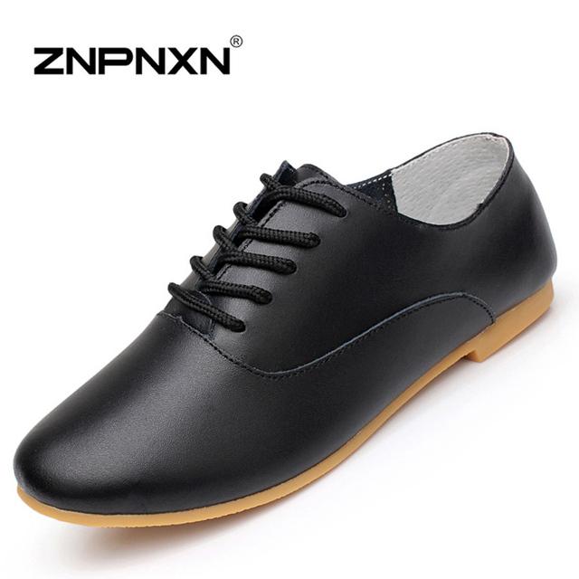 ZNPNXN женская обувь шнуровкой обувь из натуральной кожи удобные плоские пятки 2015 ...