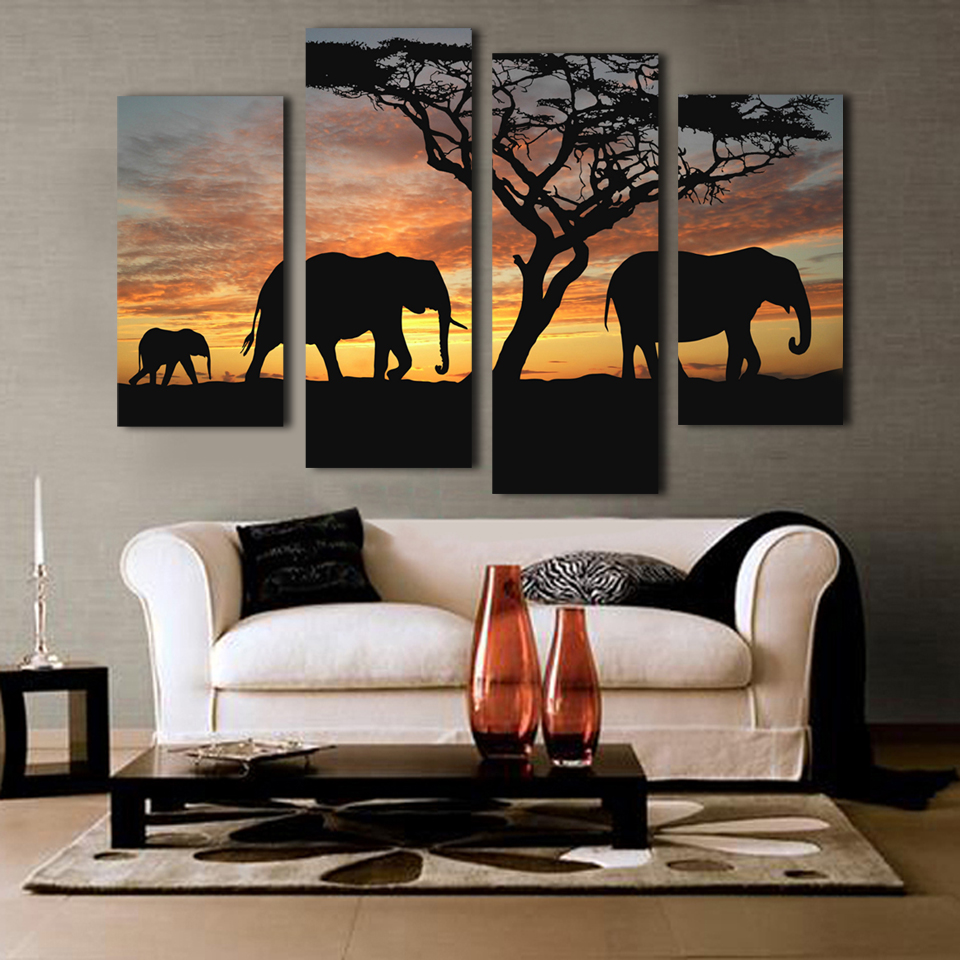 5 ppcs sunset elephant painting canvas wall art picture for Wall art paintings for living room