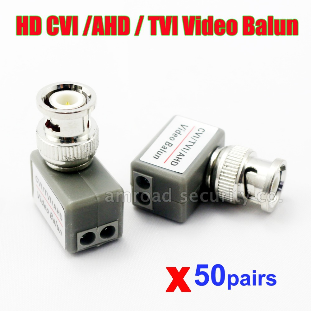 50pairs HD CVI/TVI/AHD Video Balun Twisted BNC Passive Video Balun Transceiver UTP Cat5/5e/6 Network Coaxial Adapter(China (Mainland))