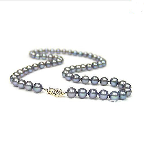 New Arriver Black Color 8-9mm Round Natural Freshwater Pearl Necklace 18 Fashion Jewelry Wholesale New Free Shipping<br><br>Aliexpress