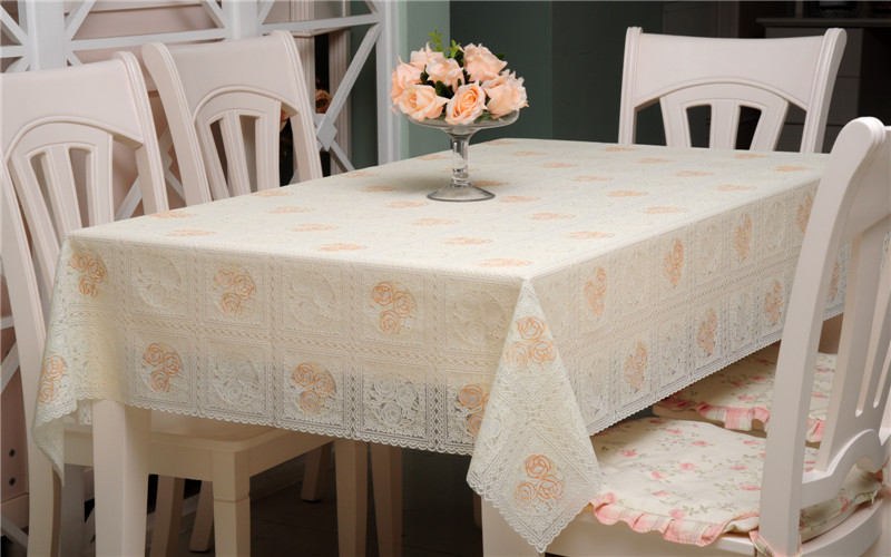 Disposable plastic PVC tablecloth table towel pastoral JK8007 lace tablecloths cutting stamping-proof waterproof(China (Mainland))