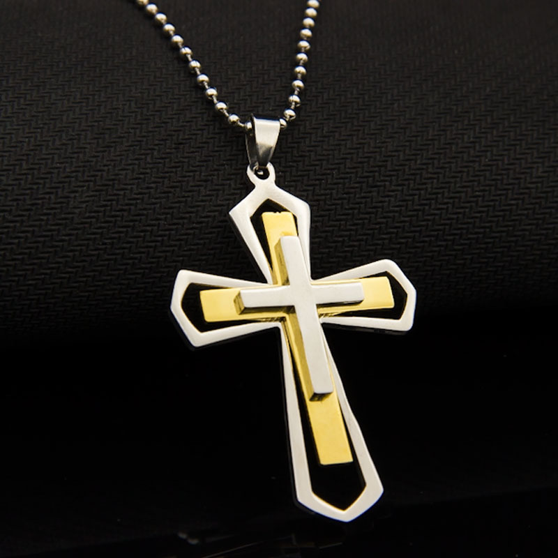 18K Gold Plated Cross Jewelry Men Silver 316L Stainless Steel Chain Necklace Wholesale Necklaces Pendants Mens(China (Mainland))