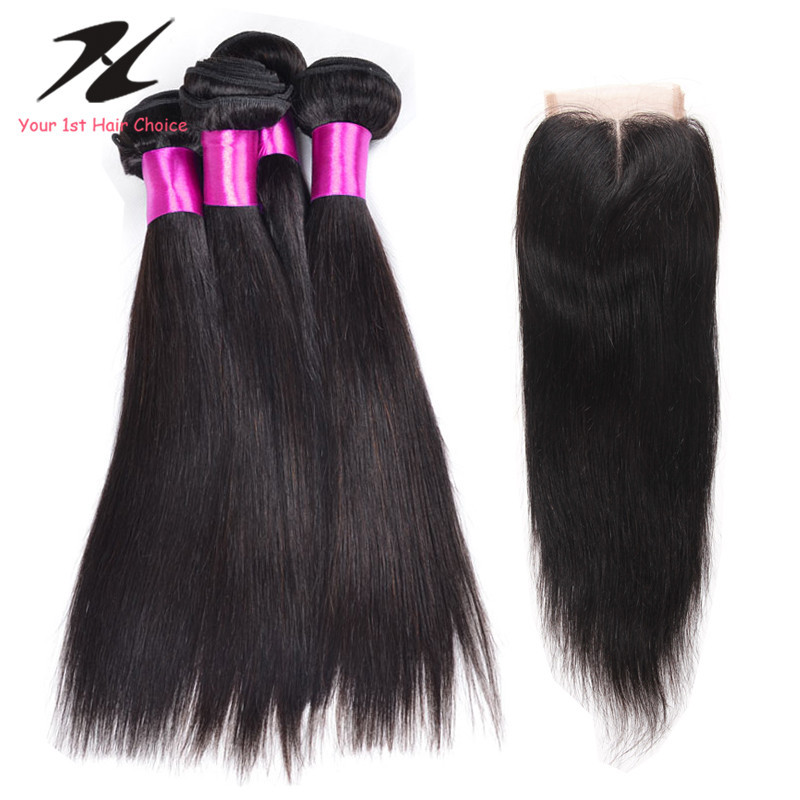 Peruvian Straight Virgin Hair With Closure 4PCS Lot Lace Closure With Bundles 7A Straight Human Hair With Closure<br><br>Aliexpress