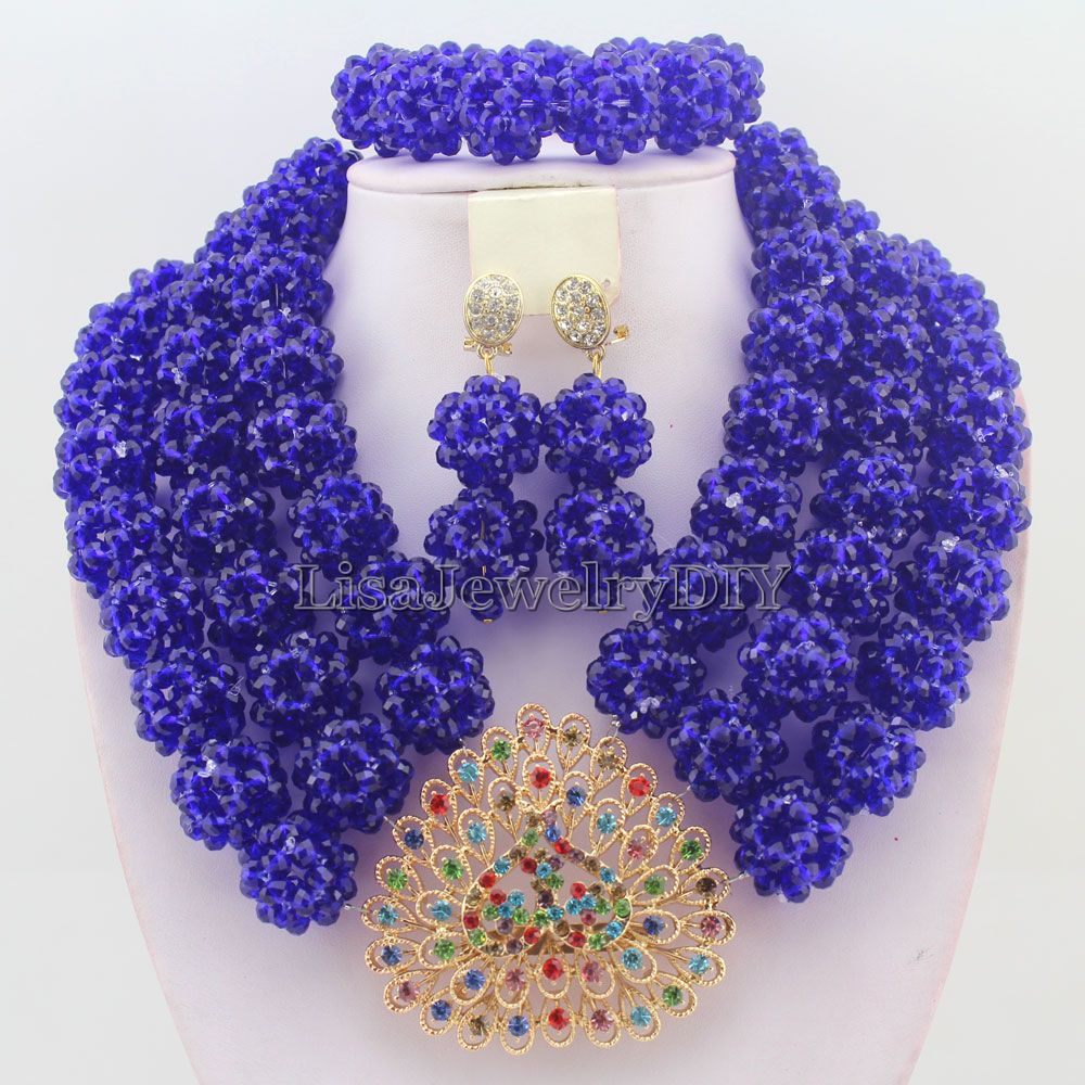 Best Selling African Royal Blue Beads Jewelry Sets Nigerian Wedding Bridal Necklace Earrings HD4658
