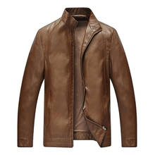 Chinese Spring Mens Tailored Leather Jackets With Stand Collar Overcoats For Men Full-Zip Brown Black Champagne Fur Coats Male(China (Mainland))