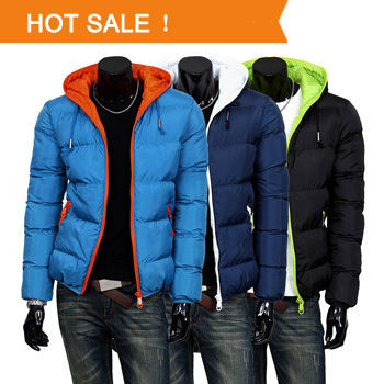New 2014 Mens Winter Down Jacket Men's Hooded Wadded Coat Thickening Parkas Outerwear Male Slim Casual Cotton-padded Outwear(China (Mainland))