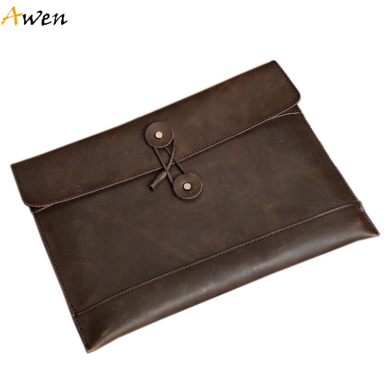 Awen - Ultra-thin String Opening Mens Envelope Clutch,Large Size 2 Colors Men Purses,Business Genuine Leather Cover Men's Wallet