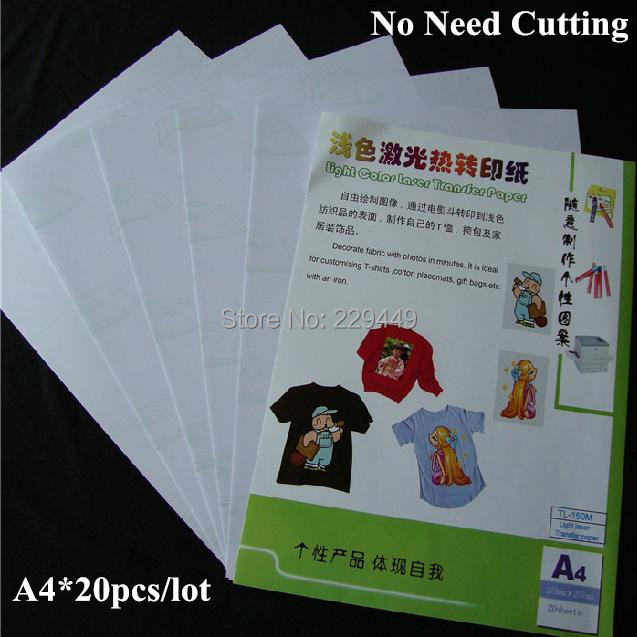 No Need Cutting Images A4 Paper Light Color 20 pcs/lot Laser Toner Heat Transfer Paper Sticker For tshirt t shirt Free Shipping(China (Mainland))