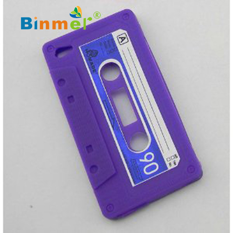 Hot Selling Binmer Beauty 1pc Cassette Tape Silicone Case Cover for iPhone 4 4G Jun.17(China (Mainland))