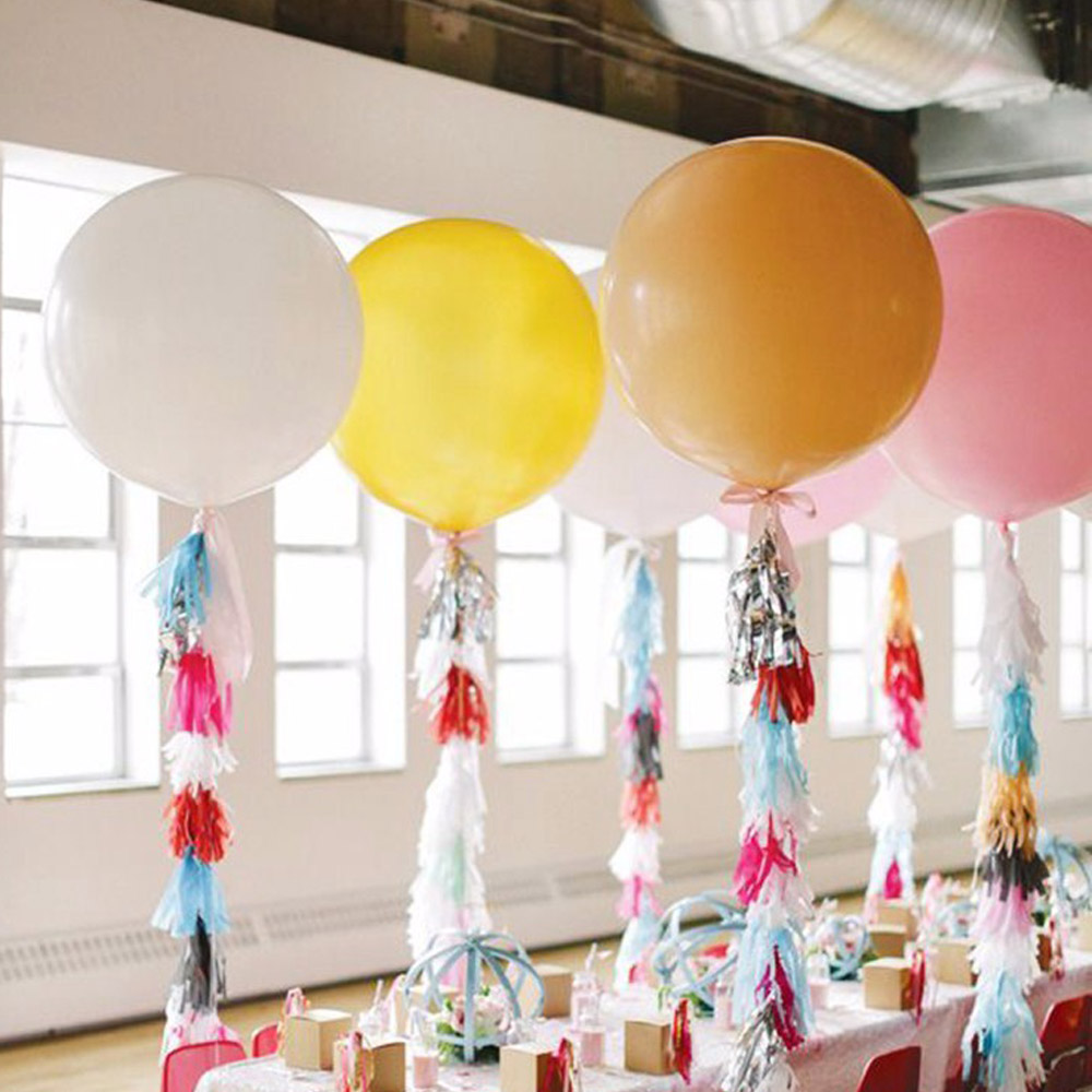 ( 36inch Balloon +Tassel Garland) Wedding Decoration Tissue Paper Ribbon Balloons Birthday Curtain Photograph Background(China (Mainland))