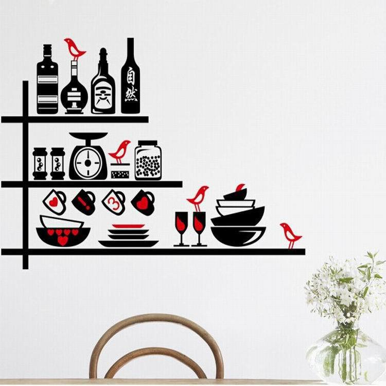 DIY fashion creative home decor wall stickers PVC LC7011 kitchen shelf decorative glass supplies