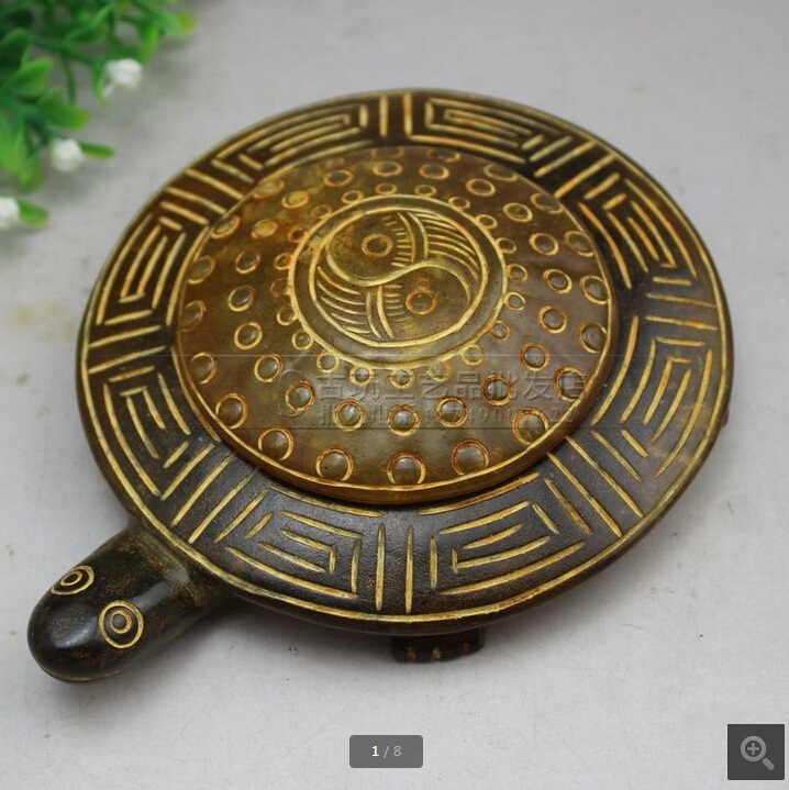 Fine antique Chinese carved jade snow snowflake jade tortoise longevity ink stone ornaments free email(China (Mainland))