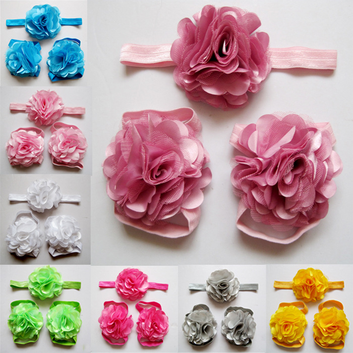 2015cute fabric satin mesh flowers for headbands baby girls barefoot sandals and headband sets children shoes 10set/lot(China (Mainland))