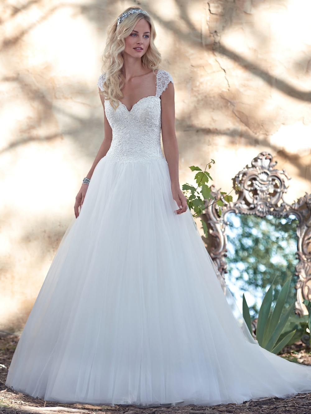 Dreamy lace and tulle ball gown wedding dress crystal for Tulle and lace wedding dresses