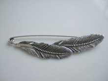 10pcs antique Silver Two Feather Large Metal Kilt Safety Pin Brooch Jewelry Craft