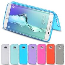 S6 край мягкой тпу чехол мода ультра флип силиконовый чехол для Samsung Galaxy S6 край G9250 всего тела прозрачная крышка сумки