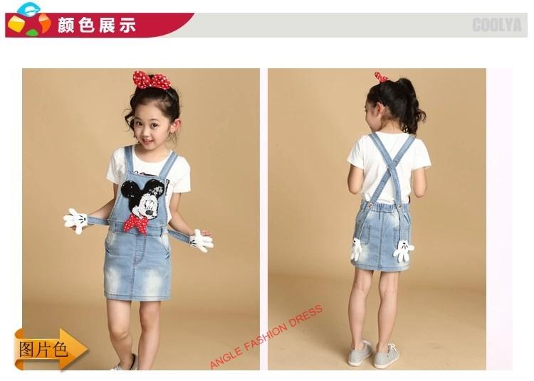 Free shipping 2014 summer and autumn Children clothing Girls 3~10 Age Cartoon Mickey Dress Jean Dress Blue Denim Strap Dresses(China (Mainland))