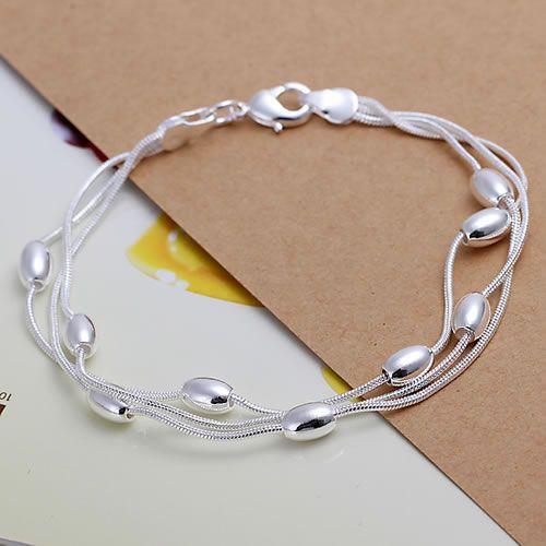 H236 925 серебро браслет, 925 серебро ювелирные изделия три линии блеск мяч браслет ...