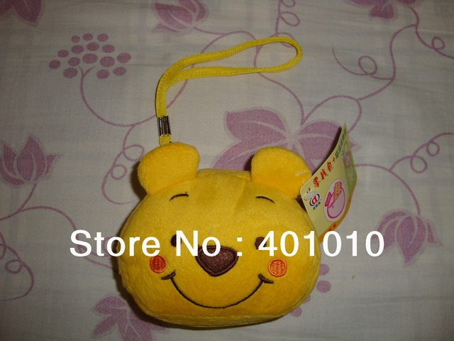 Plush doll toy Winnie bear Doraemon style folding shopping bag tote purse free air mail