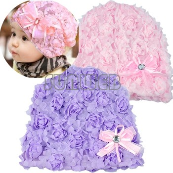 baby hat flower! infant girls winter,spring beanies girl's lace bowknot cap pink Purple free shipping 41
