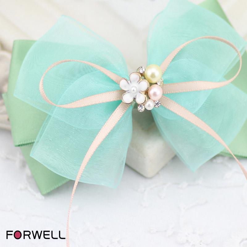 Handmade Bow Hair Ring Hairpins Hair Accessories Pearl Flower Shape Rhinestone Hair Clip For Women Elastic Tapes First Flowers(China (Mainland))