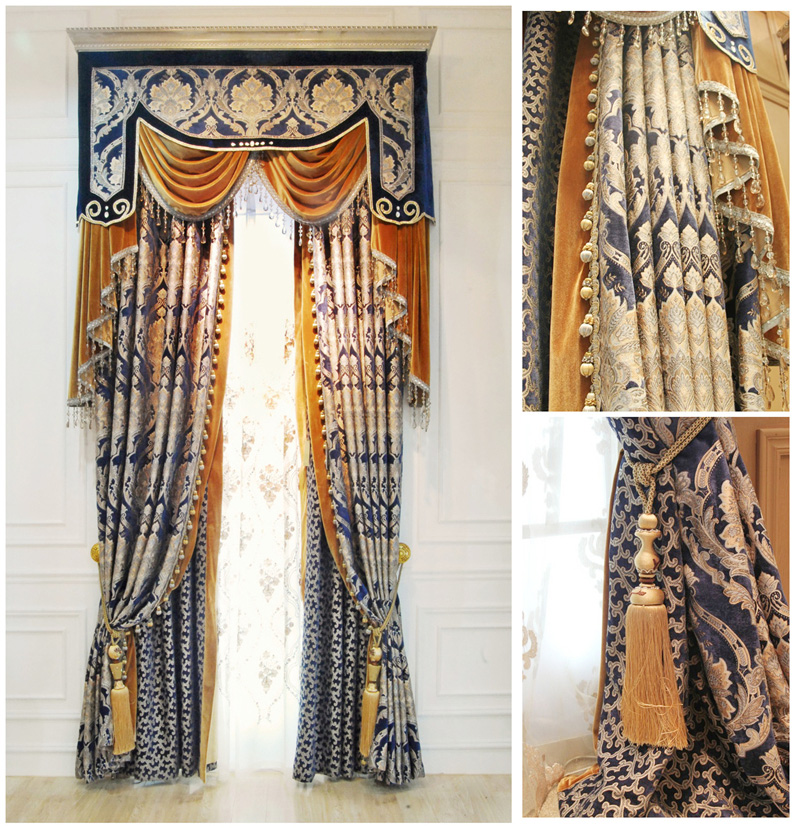 2016 Luxurious Blue Damask Jacquard Woven Chenille Curtain Fabrics Sofa Decoration Cloth 280 cm Width(China (Mainland))