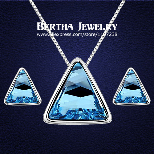 New Style Triangle Cystal Jewelry Sets Earrings Necklaces Pendants For Party Wedding With Swarovski Elements Crystal Gift Set