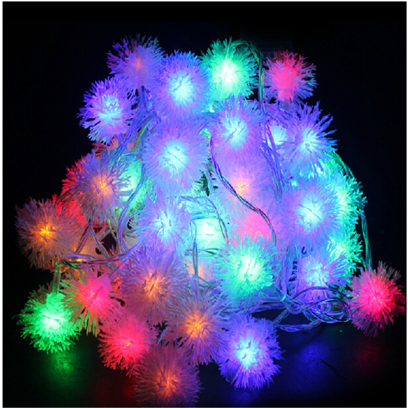 10M 80 LEDs Furry Ball RGB Edelweiss Led String Light Multi-Color AC220V EU Plug colorful color changing Christmas Decoration<br><br>Aliexpress