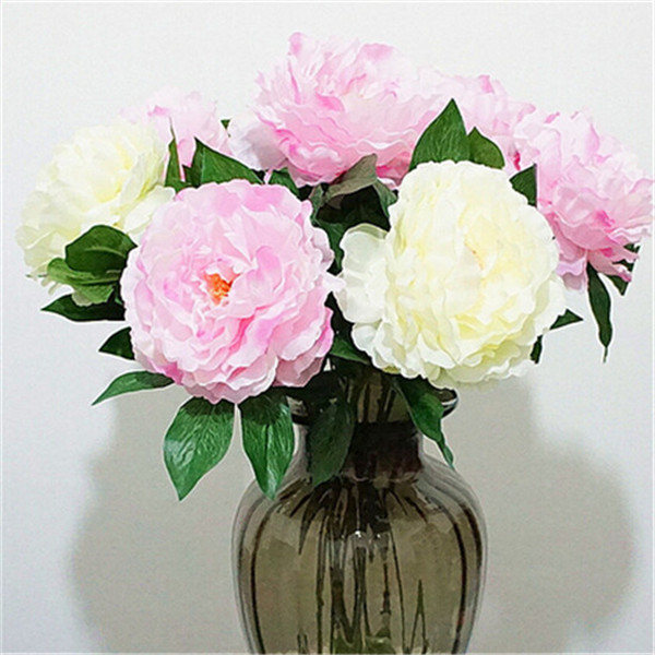 Silk Peony Flower 6Pcs 77cm/30.31 inches Artificial Peonies Paeonia Flowers for Home Office Decor Cream/Pink/Green/hot pink(China (Mainland))