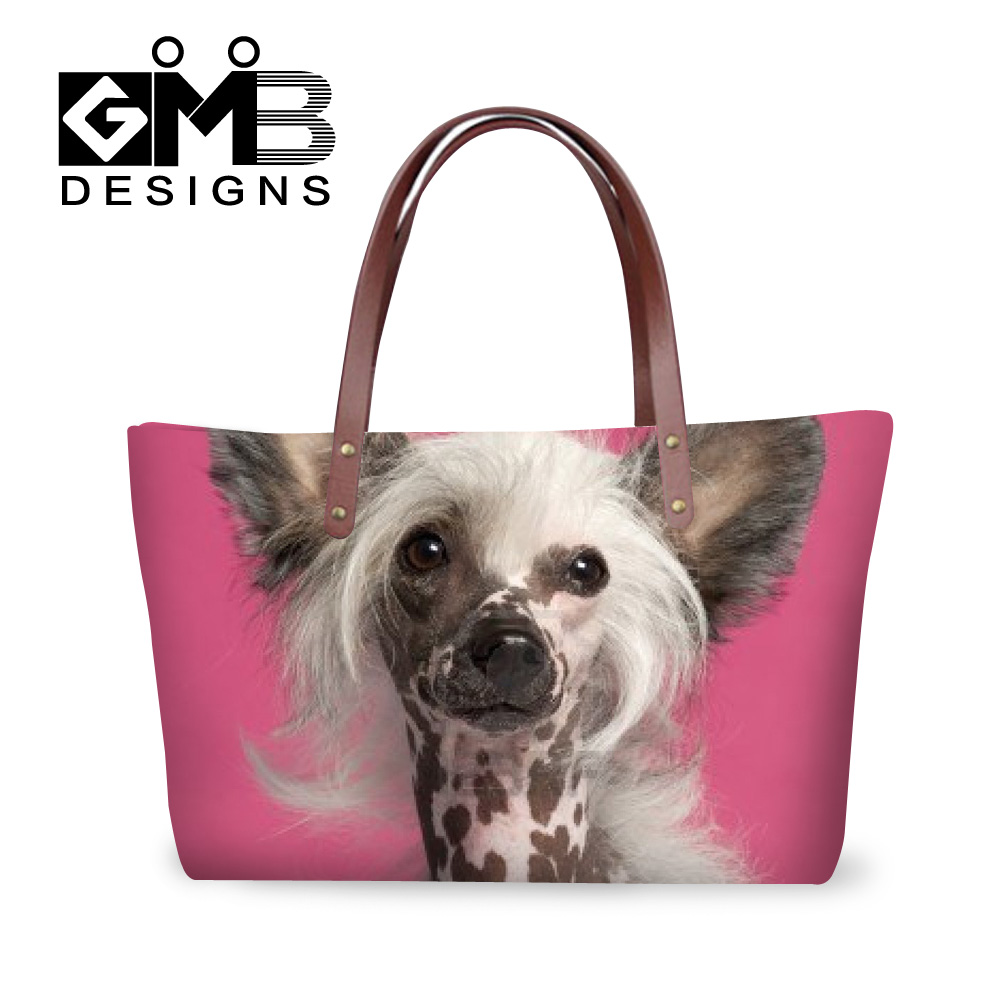 2016 handbags casual totes lovely crested dog printing ladies brand designs hand bags good quality women fashion top-handle bags(China (Mainland))