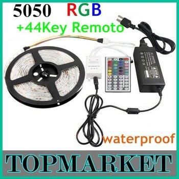 Promotion 5M SMD 5050 RGB Waterproof 300 LEDs/Roll Led Strip Light  +24 keys IR Remote + Free Shipping