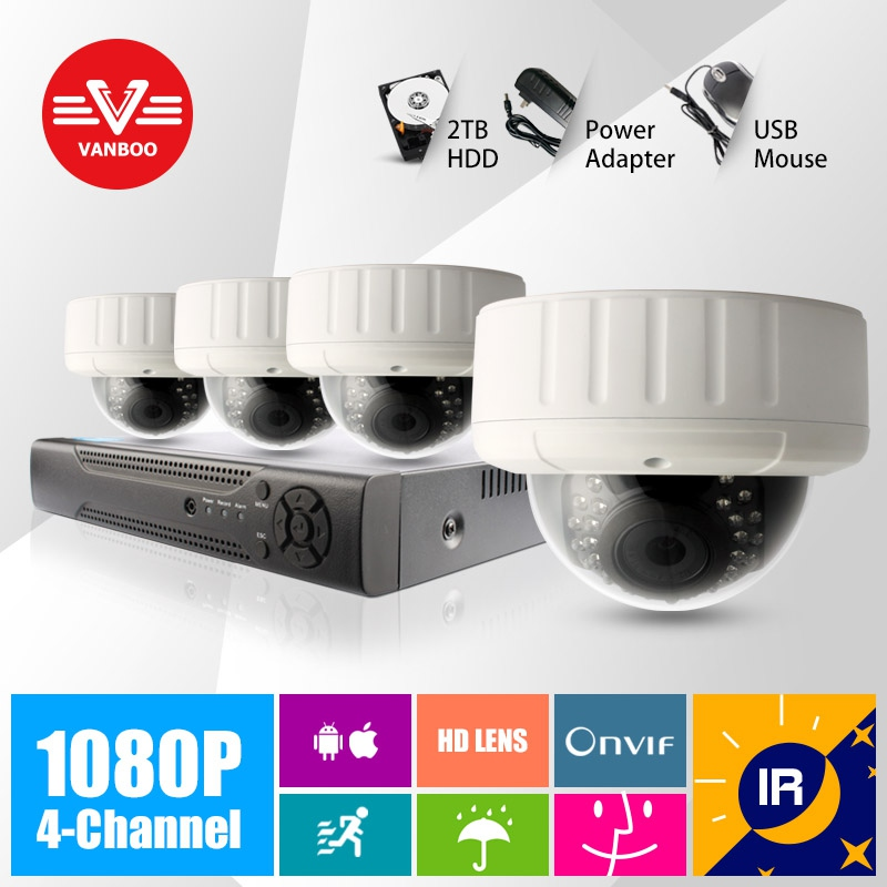 4CH 1920*1080P 2MP ONVIF 2.0 Waterproof Outdoor IR CUT Night Vision P2P Plug and Play Dome IP Camera(China (Mainland))