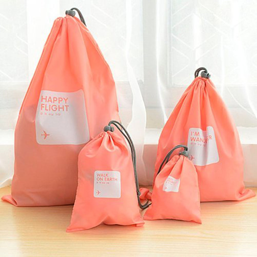 A Set of 4pcs Universal Outdoor Travel Waterproof Nylon Drawstring Storage Bags Pouches Organizers in Different Sizes (Pink)(China (Mainland))