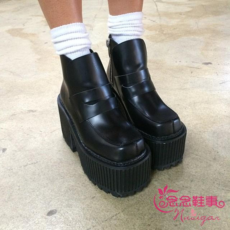 unif high black vintage high genuine leather boots thick