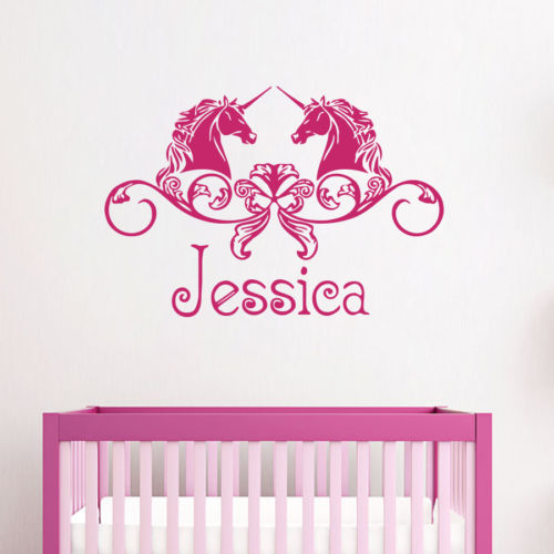 horse wall sticker personlized name wall decal for girls free shipping fashion removable 3d fairy wall stickers for