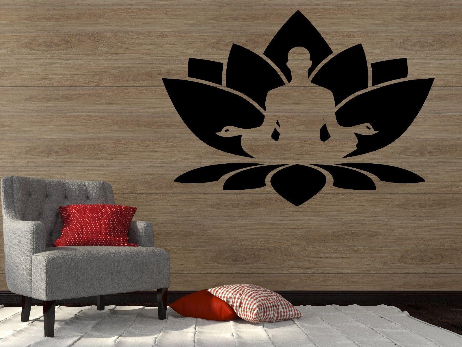 2016 new yoga Wall Vinyl Sticker Decal Lotus Flower Seated Buddha Meditation Yoga Studio free shipping(China (Mainland))