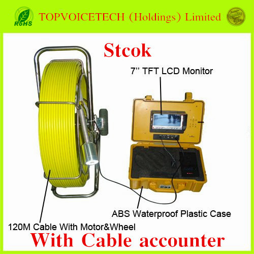 120m Pipe Wall Sewer Inspection Camera System with Cable accounter,endoscope camera system,waterproof Sewer detection camera(China (Mainland))