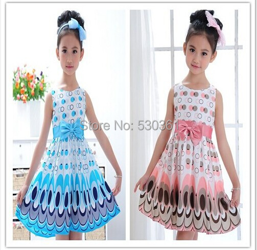 New 2015 Girl dress, Princess Bow Belt dress Circle Bubble Peacock print kids clothes, girl's Party dresses 2-9Y free shipping(China (Mainland))
