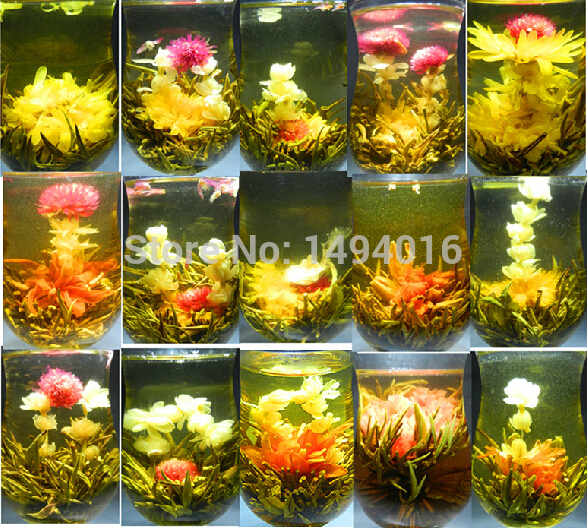 18 pcs Different kinds Chinese Blooming Flower Tea 100% Handmade Artistic Blossom Flower Tea ball Green Vacuum Packing(China (Mainland))