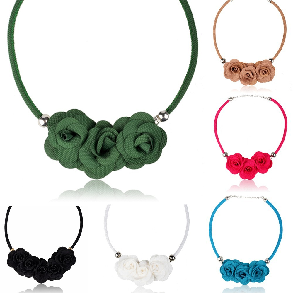 2015 women fashion Collar necklace statement red blue black charm pendant party fabric rose flower choker Bib necklace(China (Mainland))