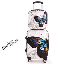 Женщины 14 20 24 абс пк бабочка на колёсиках путешествие багаж сумки комплект, Женское путешествие чемодан комплект на 8-universal колеса