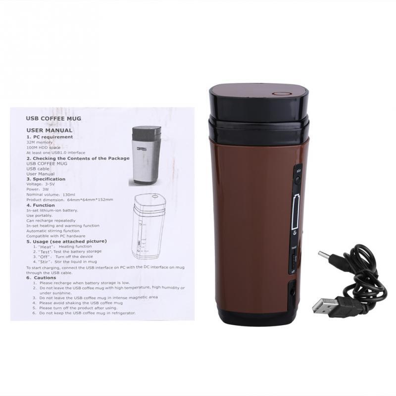 USB Coffee Cup Rechargeable Powered Coffee Mug Warmer Automatic Stirring Brown(China (Mainland))