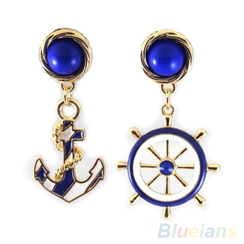 Women's Elegant Navy Anchor Helm Style Alloy Long Dangle Drop Jewelry Earrings  1N3T(China (Mainland))