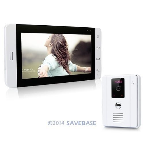 "HOMSECUR 7"" Video Door Phone Intercom System 700TVL Camera Touch Key Monitor White Color(China (Mainland))"
