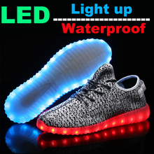 Fashion Brand LED Adult Couple Walking Shoes with Colorful Neon Glowing Simulation Luminous Casual Women Shoes Yeezy Light up(China (Mainland))