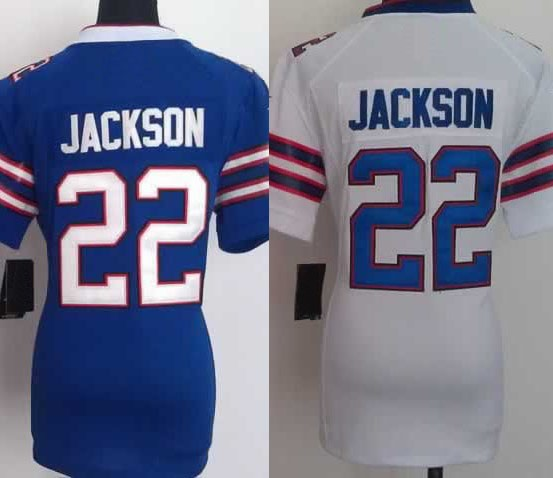 Women Lady's Girl's Fred Jackson Jersey Wholesale,Cheap Buffalo #22 Blue White Football Jersey,Stitched,High Quality(China (Mainland))