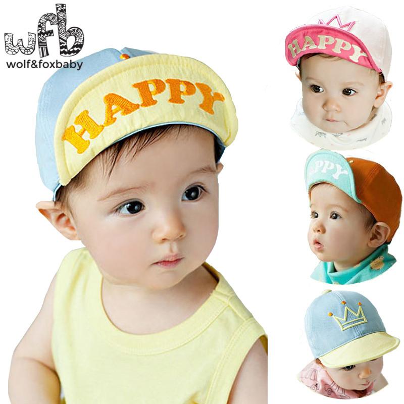 Retail 0-4 years 50CM baseball cap hats happy touca baby children infant gorras head beanies bebes kids spring fall(China (Mainland))