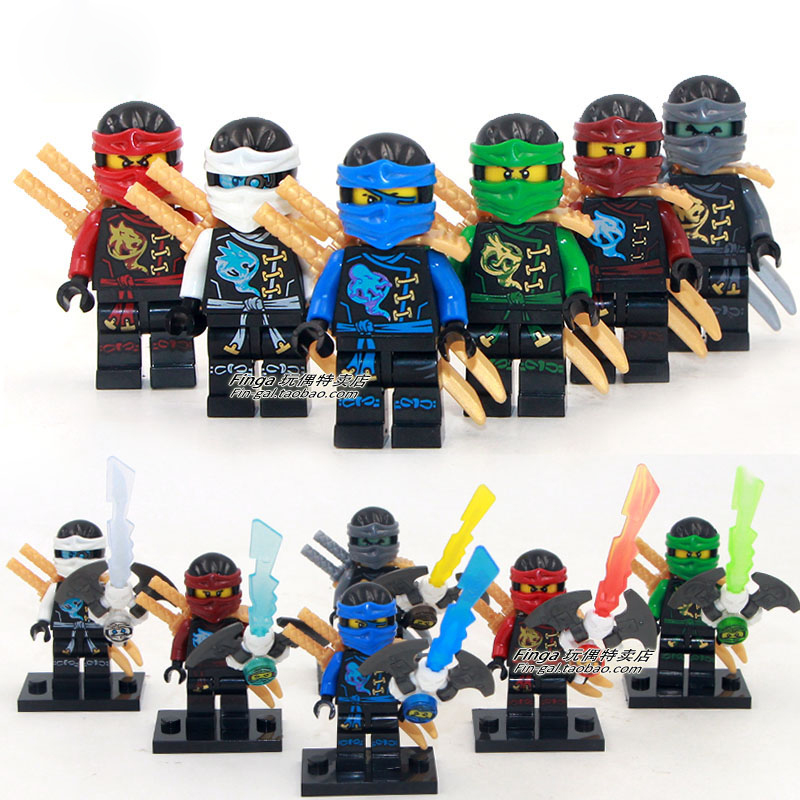 DECOOL 10023-10028 Ninjagoes Minifigures Kai Jay Cole Zane Nya Lloyd Weapon Compatible Legoes Building Blocks Toy - COASTLINE TOY store